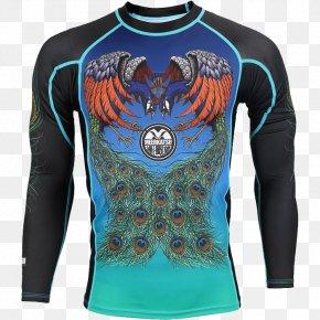 Flying Peacock - Rash Guard Jersey Brazilian Jiu-jitsu Skin Rash Shirt PNG