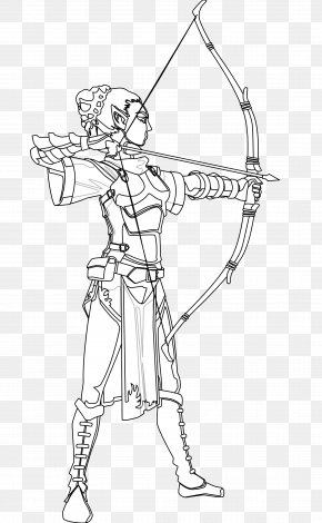 Female Archer Cliparts - Black And White Drawing Archery Coloring Book Clip Art PNG