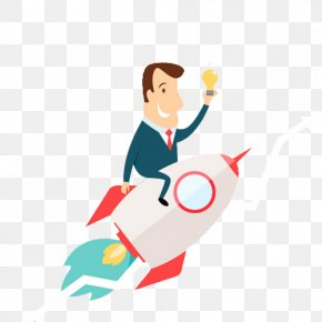 Businessman Riding A Rocket - Rocket Man Flight Spacecraft Clip Art PNG