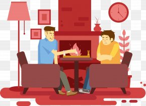 Cartoon Youth In The Living Room Fireplace Next To Chess Vector - Cartoon Living Room PNG