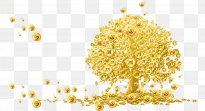 Cartoon Covered With Gold Coins - Gold Wallpaper PNG