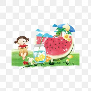 Hand Painted Watermelon Poster - Watermelon Juice Summer Poster Illustration PNG