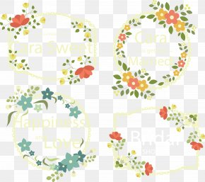 Vector Hand-painted Flower Label - Euclidean Vector Flower Logo PNG