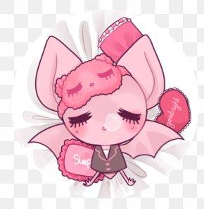 Sleepy Bat - Pastel Sleep Pink Drawing PNG