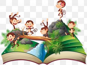 Monkey On The Books - Pop-up Book Royalty-free Illustration PNG