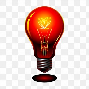 Vector Red Bulb - Incandescent Light Bulb Lamp PNG