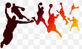 Playing Basketball Silhouette Figures - Basketball NBA PNG