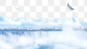 Snow Mountain Falls - Snow Waterfall Wallpaper PNG