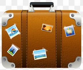 Brown Suitcase With Pictures Clipart Picture - Suitcase Baggage Clip Art PNG