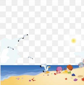 Seagull Beach - Beach Cartoon Poster Illustration PNG