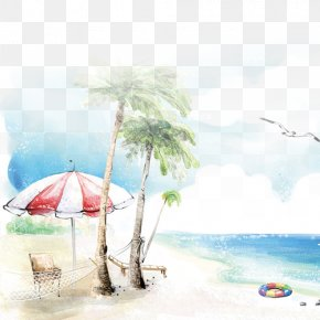 Beach Background - Beach Drawing Seaside Resort PNG