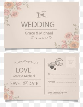 Vintage Postcard Style Wedding Invitation Card Vector - Wedding Invitation Postcard Paper Greeting Card PNG