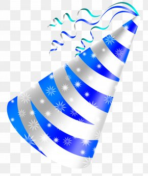 White And Blue Party Hat Clipart Image - Birthday Cake Party Hat Clip Art PNG