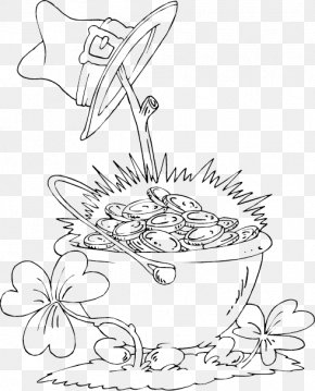 Pot Of Gold - Coloring Book Gold Image Saint Patrick's Day PNG