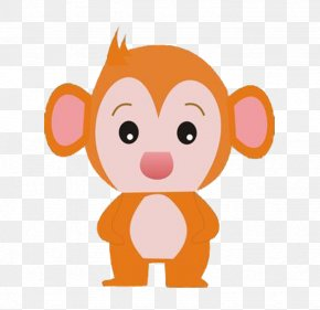 Hand Painted Cartoon Gold Monkey - Monkey Cartoon Clip Art PNG