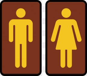 Vector Creative Design Yellow Male And Female Toilet - Unisex Public Toilet Bathroom Sign PNG
