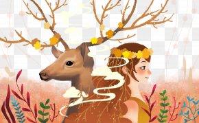 Illustration Deer And Girls Free Downloads - Reindeer Download Illustration PNG