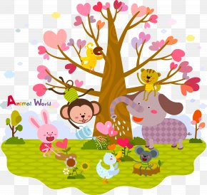 Animal Flower Tree - Wall Decal Sticker Polyvinyl Chloride PNG