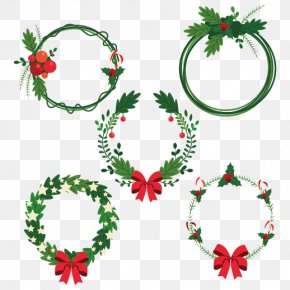 Christmas Garland Gift Element Vector - Christmas Tree Advent Wreath Garland PNG
