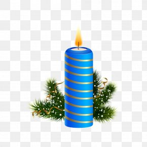 Free Christmas Tree Candle Pull Material - Blue Christmas Candle Birthday Cake Clip Art PNG