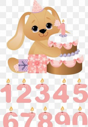Puppy Holding A Birthday Cake - Birthday Cake Candle Clip Art PNG