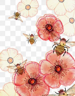 Honey Bees - Watercolor Painting Drawing Art Illustration PNG