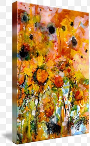 Ink Watercolor Painting - Modern Art Common Sunflower Watercolor Painting Abstract Art PNG