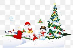 Christmas - Santa Claus Christmas Tree Gift Poster PNG