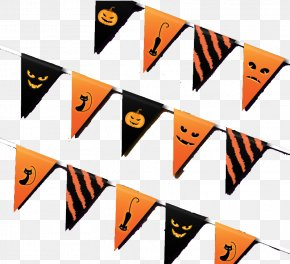 Beautifully Halloween Triangle Hanging Flag Vector Material - Halloween Clip Art PNG
