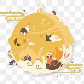 Mid Autumn Festival Moon Decoration - Mooncake Mid-Autumn Festival Moon Rabbit PNG