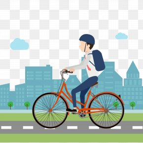Vector Flat Bike To Work On The Road - Fixed-gear Bicycle Cycling Clip Art PNG