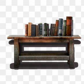 Vintage Old Wooden Desk - Desk Clock Download PNG