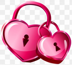 Heart Locks Transparent Clip Art Image - Heart Padlock Clip Art PNG