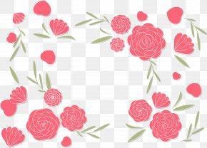 Romantic Pink Camellia Border - Japanese Camellia Euclidean Vector Floral Design PNG