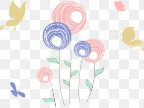 Children Draw Circles Flowers Vector Diagram - Butterfly Euclidean Vector Drawing PNG