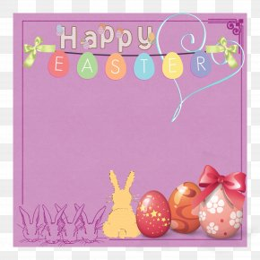 Happy Easter - Easter Greeting Card Picture Frame Flower Rabbit PNG