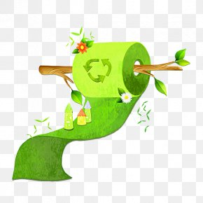 Green Toilet Paper - Paper Clip Art PNG