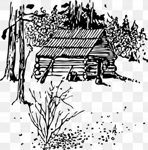 Vector Field House - Log Cabin Black And White Clip Art PNG
