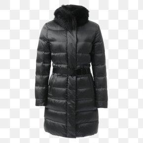 Ms. Belt Fur Collar Long Down Jacket - Collar Overcoat Designer Bontkraag PNG