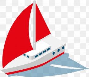 Red Sail Material - Sailing Ship Watercraft PNG