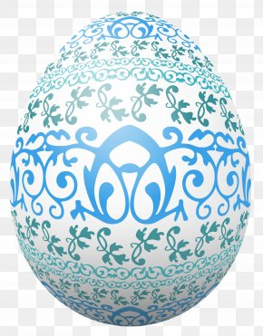 Easter White Egg With Blue Decoration Clipart Picture - Easter Egg Egg Decorating PNG