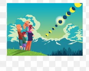 The Family Watched The Lunar Eclipse On A Mountain - Lunar Eclipse Solar Eclipse Lunar Phase Moon PNG