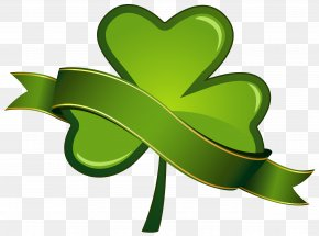 St Patricks Day Shamrock With Banner PNG Clipart - Saint Patrick's Day Shamrock Clip Art PNG