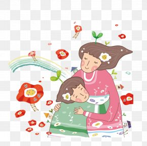 Mother Holding A Child In The Flowers - Cartoon Hug Illustration PNG