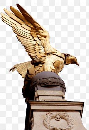Golden Eagle Sculpture Statue - Royal Air Force Memorial Victoria Embankment Statue Eagle Sculpture PNG