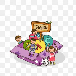 Cartoon Kids English Alphabet Box - Spelling Bug 2nd Grade Phonics Child English Teacher Learning PNG