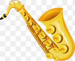 Vector Hand Painted Gold Saxophone - Baritone Saxophone Musical Instrument PNG