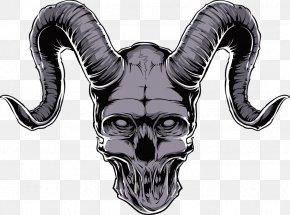 Vector Longhorn Skull Print - Printed T-shirt Skull Clothing PNG