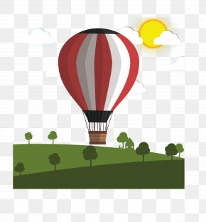 Hot Air Balloon Pull Vector Element Free - Hot Air Ballooning PNG