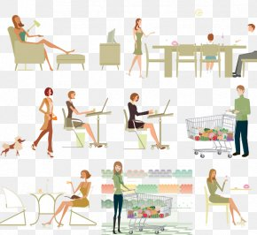 Business Men And Women Work Material Picture - White-collar Worker Cartoon Stroke Illustration PNG
